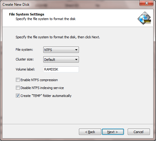 Wizard Page 4: Basic File System Settings